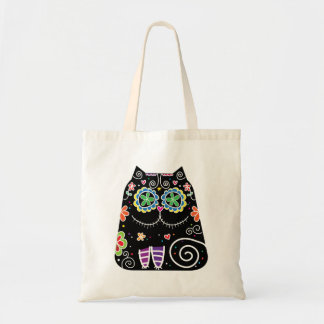 Black Cat Sugar Skull Budget Tote Bag