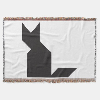 Black cat Tangram Throw Blanket