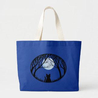Black Cat Tote Bag Fat Cat Grocery Bag Halloween