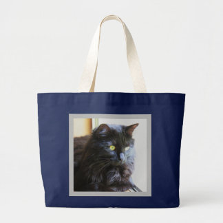 Black Cat Tote Bag, Navy with white handles