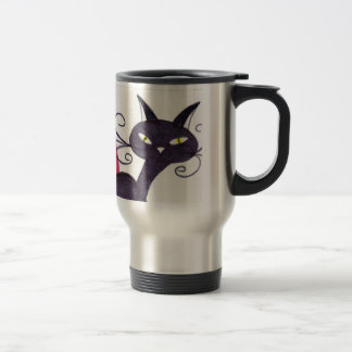 Black cat travel mug