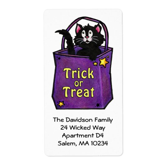 "Black Cat ""Trick or Treat"" Address Label"
