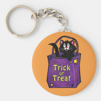 "Black Cat ""Trick or Treat"" Orange Keychain"