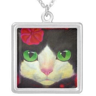 Black Cat Tuxedo Feline Painting Necklace