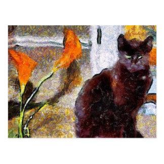 Black Cat Van Gogh Postcard