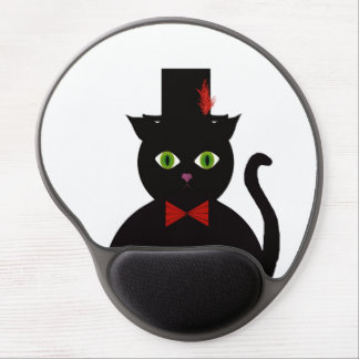 Black Cat w Top Hat Red Bow Gel Mousepad