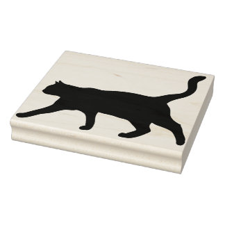 Black Cat Walking Silhouette Rubber Stamp