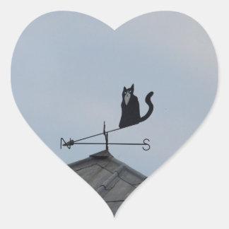 Black Cat  Weather Vane Heart Sticker