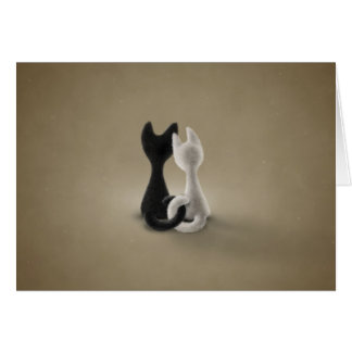 Black Cat White Cat (Color 3) Greeting Card