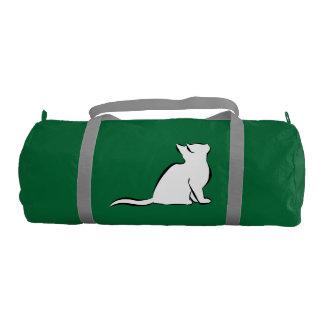 Black cat, white fill gym duffel bag