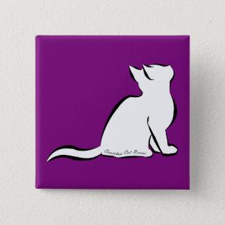 Black cat, white fill, inside text 15 cm square badge