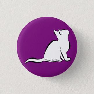 Black cat, white fill, inside text 3 cm round badge