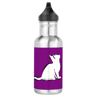 Black cat, white fill, inside text 532 ml water bottle