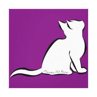Black cat, white fill, inside text canvas print