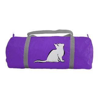 Black cat, white fill, inside text gym duffel bag