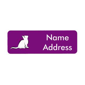 Black cat, white fill, inside text return address label