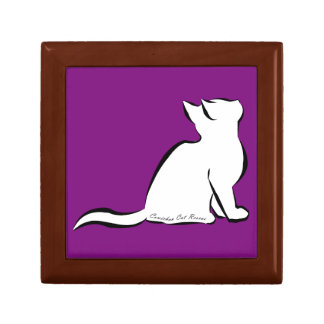 Black cat, white fill, inside text small square gift box