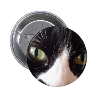 Black Cat White Whiskers Green Eyes Pins