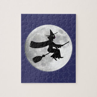 Black Cat Witch on Broom in Front of Moon Puzzle