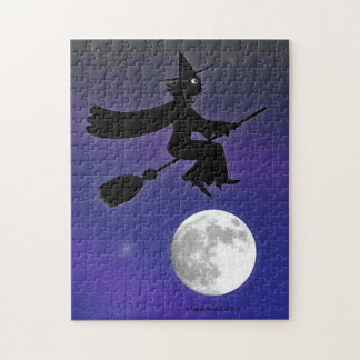 Black Cat Witch Riding Broom Over Moon Jigsaw Puzzle