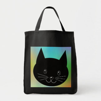 Black Cat, with a background of rainbow colors. Grocery Tote Bag