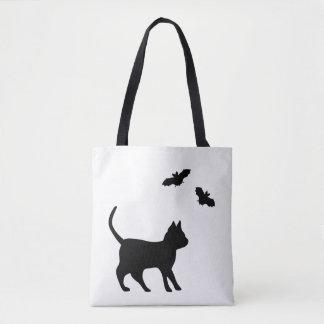 Black Cat with Bat Tote Bag