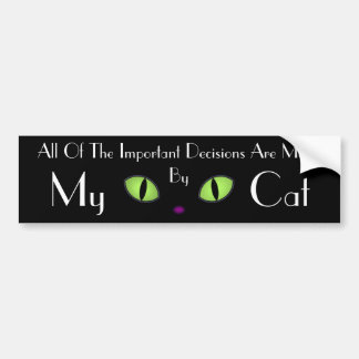 Black Cat With Big Green Eyes Bumper Sticker