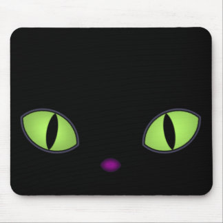 Black Cat With Big Green Eyes Mouse Pad