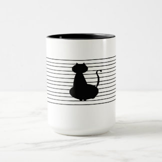 Black Cat With Black Stripes on White Mug