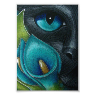 BLACK CAT with BLUE/AQUA CALLA LILY FLOWERS PRINT