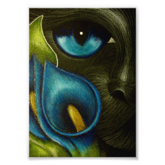 BLACK CAT with BLUE CALLA LILY FLOWERS PRINT