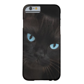 Black cat with blue eyes barely there iPhone 6 case