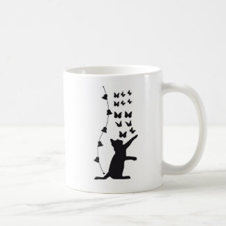 Black Cat with butterflies Coffee Mug