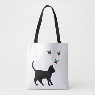 Black Cat with Butterfly Tote Bag