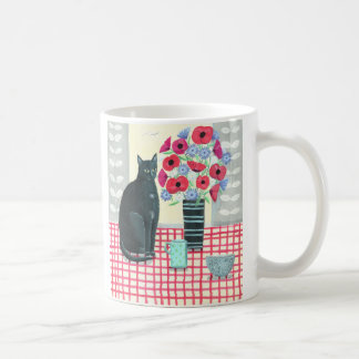 Black Cat with Flowers Mug