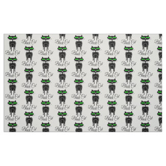 Black cat with green eyes fabric