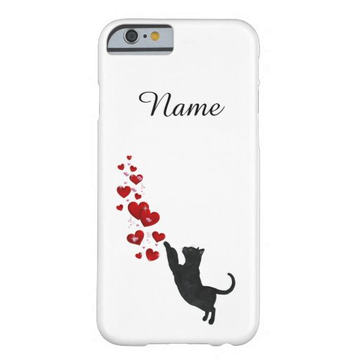 Black cat with hearts barely there iPhone 6 case