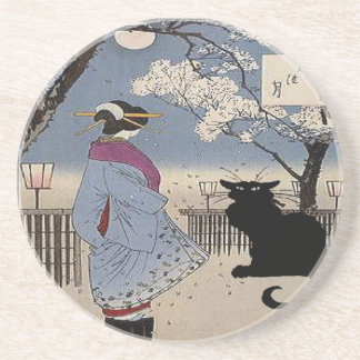 Black Cat With Japanese Lady Coaster