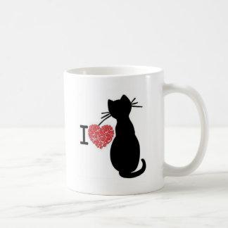 Black cat with network heart Love Coffee Mug