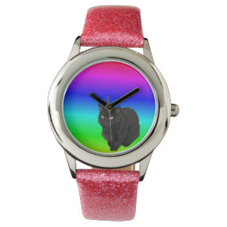 Black Cat With Rainbow Colored Background Watch