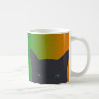 Black cat with rainbow gradient background coffee mug