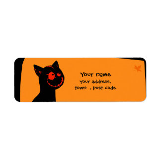 Black cat with red eyes Halloween address label