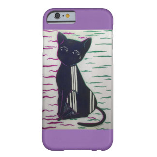 Black Cat with tear drop on Lavender i phone case