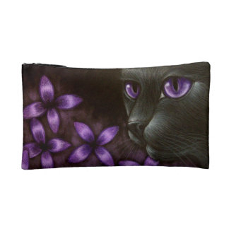 BLACK CAT with VIOLET FLOWERS SMALL COSMETIC BAG