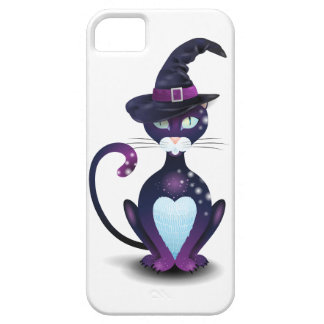 Black cat with witch's hat iPhone 5 cover