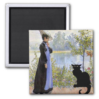 Black Cat With Woman Square Magnet