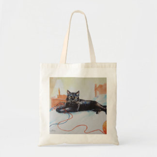 Black Cat with Yarn Budget Tote Bag