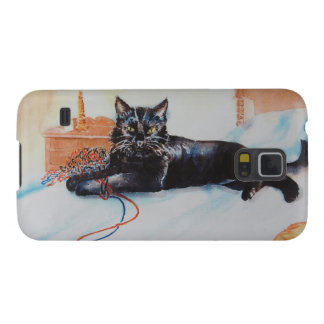 Black Cat with Yarn Galaxy S5 Cases