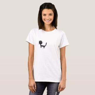 Black Cat  Women's Basic T-Shirt, White T-Shirt