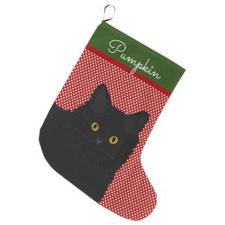 Black Cat Yellow Eyes Personalised Large Christmas Stocking